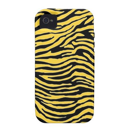 raya amarilla y negra de la cebra Case-Mate iPhone 4 fundas