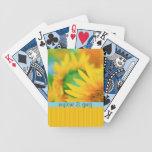 Raya anaranjada azul del girasol amarillo feliz al barajas de cartas