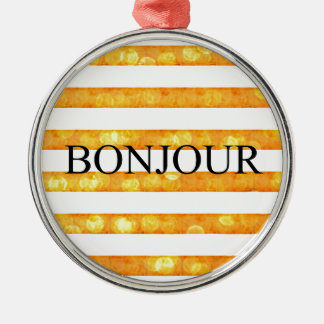 Raya anaranjada Bokeh de Bonjour Adorno Navideño Redondo De Metal