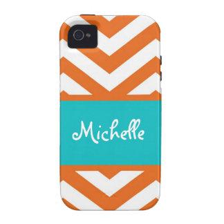 Raya anaranjada de Chevron Case-Mate iPhone 4 Funda