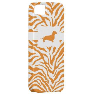 Raya anaranjada w/Dachshund de la cebra iPhone 5 Case-Mate Carcasa