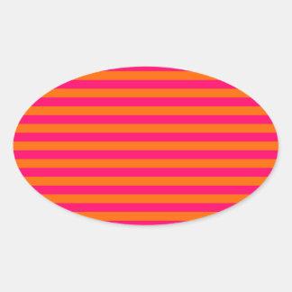 Raya anaranjada y fucsia pegatina de oval