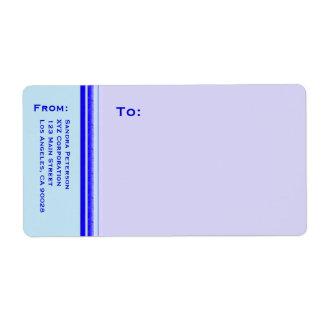 Raya azul brillante en negocio profesional en etiquetas de envío