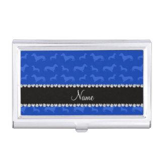 Raya azul conocida de encargo del corazón del caja de tarjetas de negocios