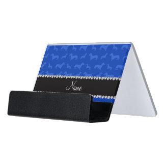 Raya azul conocida de encargo del corazón del caja de tarjetas de visita para escritorio