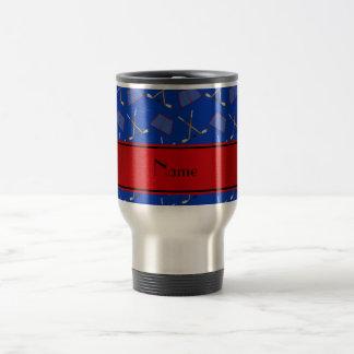 Raya azul conocida de encargo del rojo de los taza de viaje de acero inoxidable