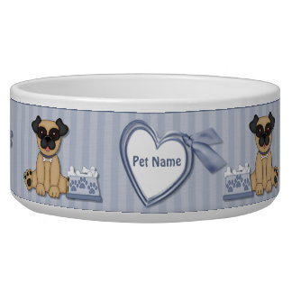 Raya azul de Cuties del barro amasado - personaliz Tazon Para Perro