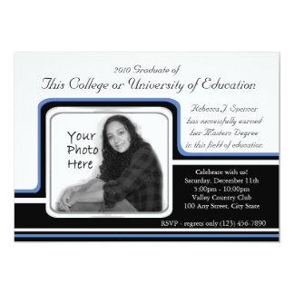 """Raya azul de la graduación de la foto invitación 5"""" x 7"""""""