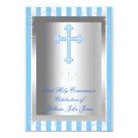 Raya azul de la primera plata de la comunión santa invitacion personalizada
