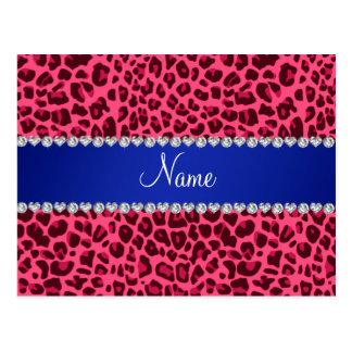 Raya azul del estampado leopardo rosado conocido postal