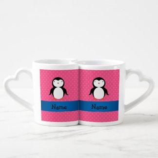 Raya azul del pingüino de los lunares conocidos taza para parejas