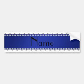 Raya azul personalizada de los diamantes blancos c etiqueta de parachoque