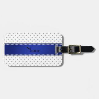 Raya azul personalizada de los diamantes blancos c etiqueta de equipaje