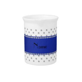 Raya azul personalizada de los diamantes blancos c jarras