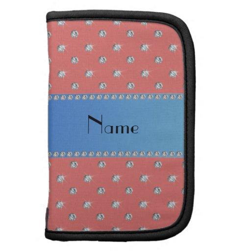Raya azul personalizada de los diamantes rosados c organizadores