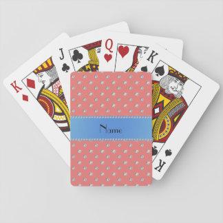 Raya azul personalizada de los diamantes rosados baraja de póquer