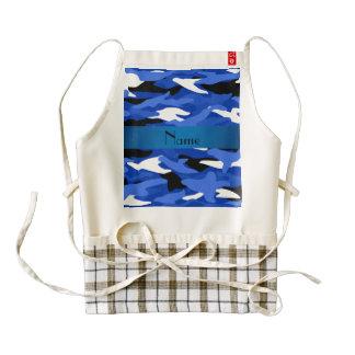 Raya azul personalizada del camuflaje azul delantal zazzle HEART