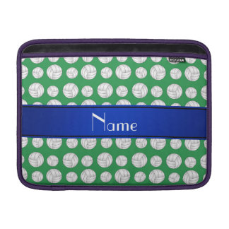 Raya azul personalizada del voleibol verde funda macbook air