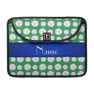Raya azul personalizada del voleibol verde fundas macbook pro