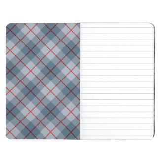 Raya Azul-Roja de la tela escocesa diagonal Cuaderno Grapado