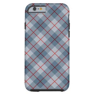Raya Azul-Roja de la tela escocesa diagonal Funda De iPhone 6 Tough