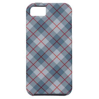 Raya Azul-Roja de la tela escocesa diagonal iPhone 5 Carcasa