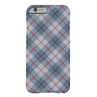Raya Azul-Roja de la tela escocesa diagonal Funda Para iPhone 6 Barely There