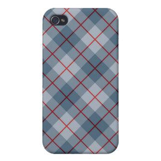 Raya Azul-Roja de la tela escocesa diagonal iPhone 4 Carcasa