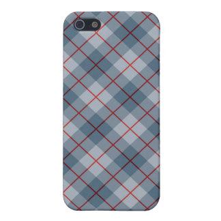 Raya Azul-Roja de la tela escocesa diagonal iPhone 5 Funda