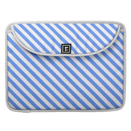 Raya azul y blanca simple linda fundas para macbook pro