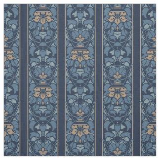 Raya azul y marrón clara del nouveau del arte telas