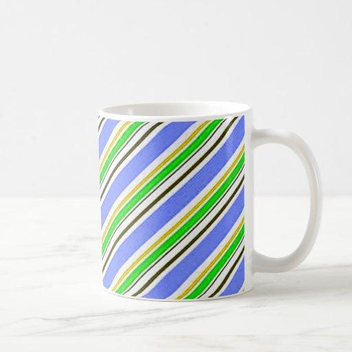Raya azul y verde taza clásica