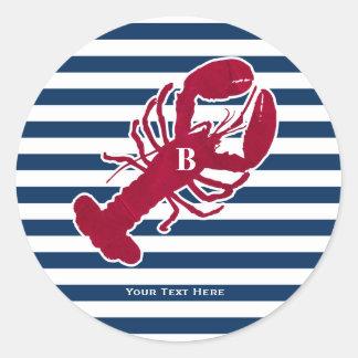 Raya blanca azul del monograma rojo náutico de la pegatina redonda