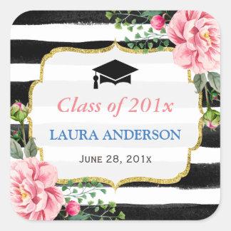 Raya blanca negra floral 2016 de la graduación pegatina cuadrada