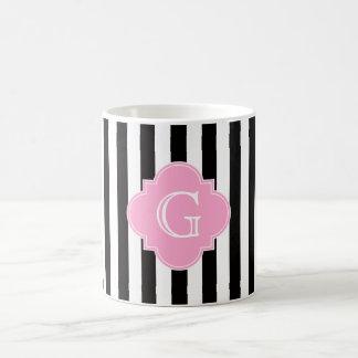 Raya blanca negra, monograma rosado de Quatrefoil Tazas