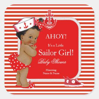 Raya blanca roja del chica del marinero de la pegatina cuadrada