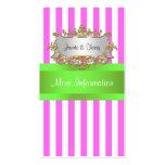 Raya blanca rosada, cinta de la verde lima tarjetas de visita