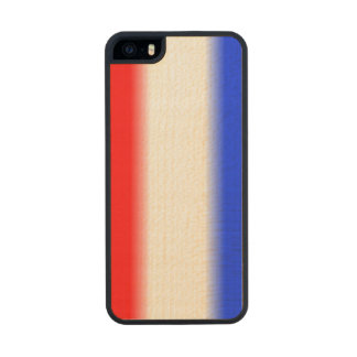 Raya blanca y azul roja funda de madera para iPhone 5