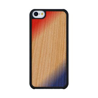 Raya blanca y azul roja funda de iPhone 5C slim cerezo
