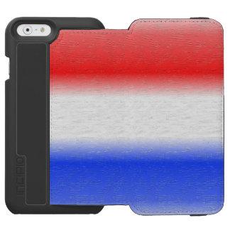 Raya blanca y azul roja funda billetera para iPhone 6 watson