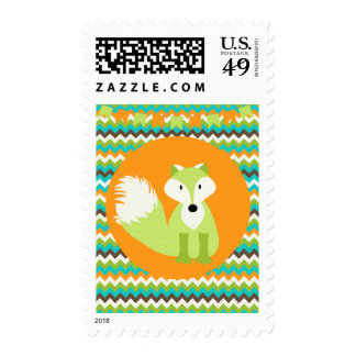 Raya caprichosa de Chevron de los animales del Fox Timbres Postales