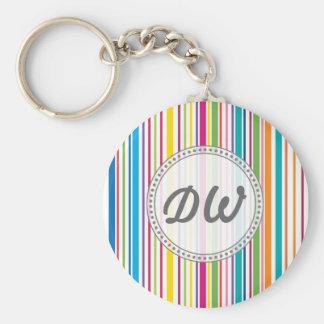 Raya colorida del caramelo - texto de encargo llavero personalizado