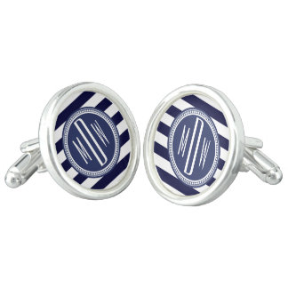 Raya con monograma blanca de los azules marinos pe gemelos