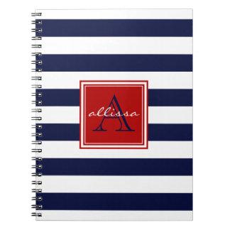 Raya con monograma del toldo de la marina de spiral notebooks