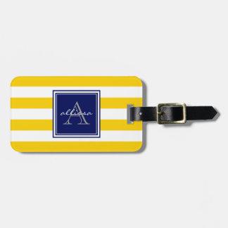 Raya con monograma del toldo de la sol etiquetas de equipaje