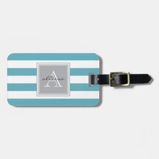 Raya con monograma del toldo del azul de océano etiquetas para equipaje
