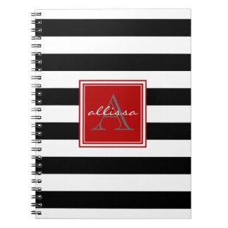 Raya con monograma del toldo del negro azabache libros de apuntes con espiral