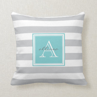 Raya con monograma gris clara del toldo almohadas