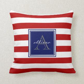 Raya con monograma roja del toldo almohada