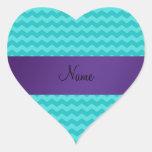 Raya conocida personalizada de la púrpura de los g pegatina corazón personalizadas